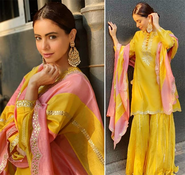 Aamna Sharif is an epitome of grace and elegance in a pastel pink and yellow suit