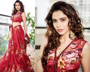 Aamna Sharif Makes Dull Sunday Looks Glamorous With Her New Photoshoot in floral Red Lehenga
