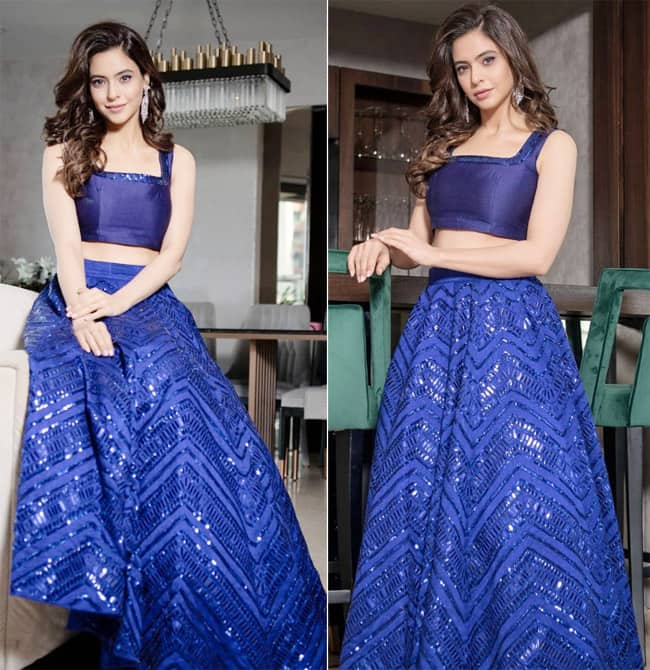 Aamna Shariff   s electric blue lehenga is a must have for this festive season