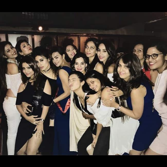 Aashka Goradia with friend of TV fraternity on her bachelorette party