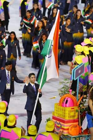 Rio Olympics 2016 Opening Ceremony : Abhinav Bindra leads Indian contingent , see pics