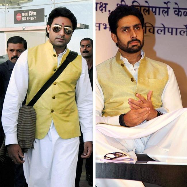 Abhishek Bachchan in beige color Nehru jacket and white kurta payjama