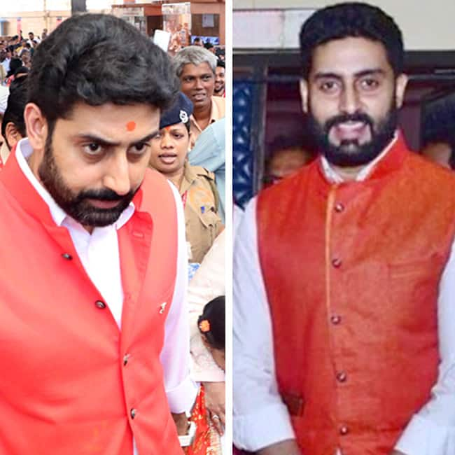 Abhishek Bachchan in red Nehru jacket and white kurta payjama