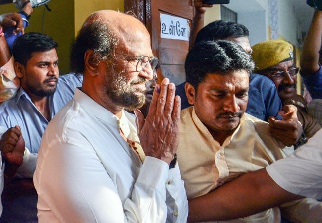 Actor politician Rajinikanth Greets Media