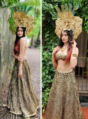 Adah Sharma Flaunts Her Perfect Curves in Golden Lehenga And Huge Egyptian Mask on Head
