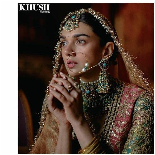 Aditi Rao Hydari poses as a bride for Sabyasachi