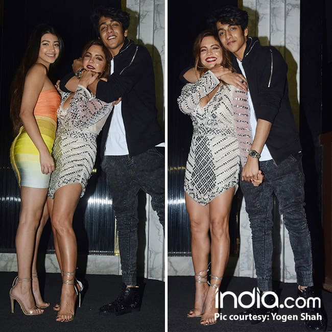 Ahaan Panday poses with Deanne Pandey on her birthday bash