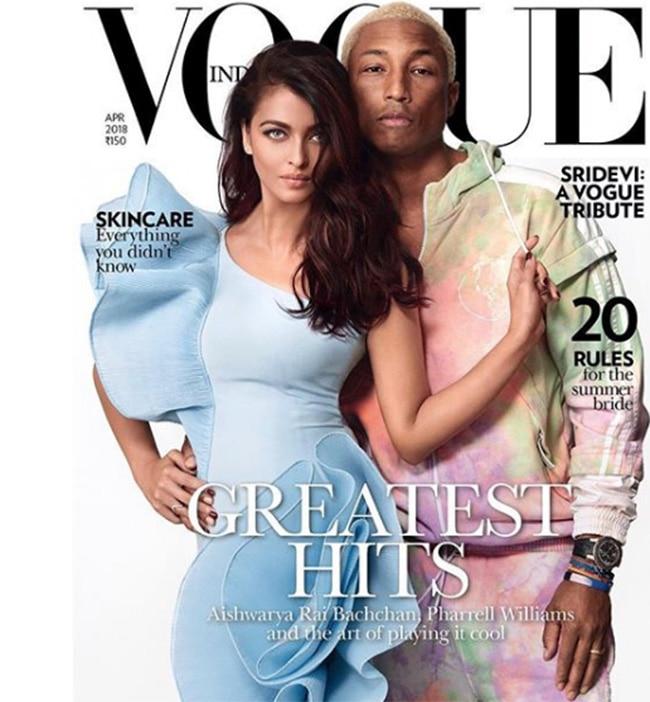 Aishwarya Rai Bachchan on cover of Vogue with Pharrell Williams