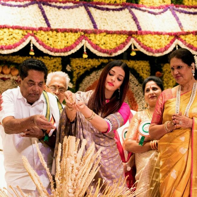 Aishwarya Rai Bachchan performing rituals during the inauguration