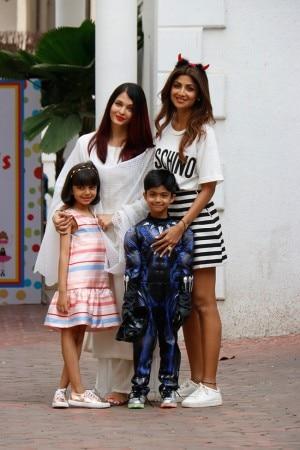 Aishwarya Rai Bachchan With Daughter Aaradhya at Viaan Kundra's Birthday Celebration at Shilpa Shetty's Residence