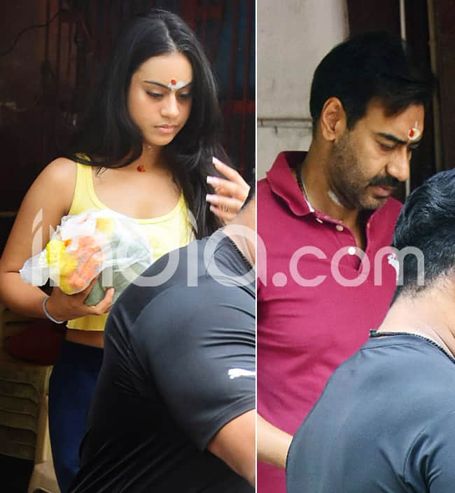 Ajay Devgn and Nysa Devgn seek blessings