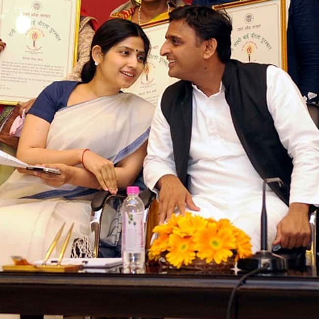 Akhilesh and Dimple looks cute in this picture