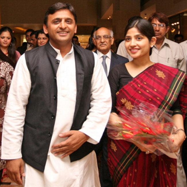 Akhilesh Yadav and Dimple Yadav during a programme