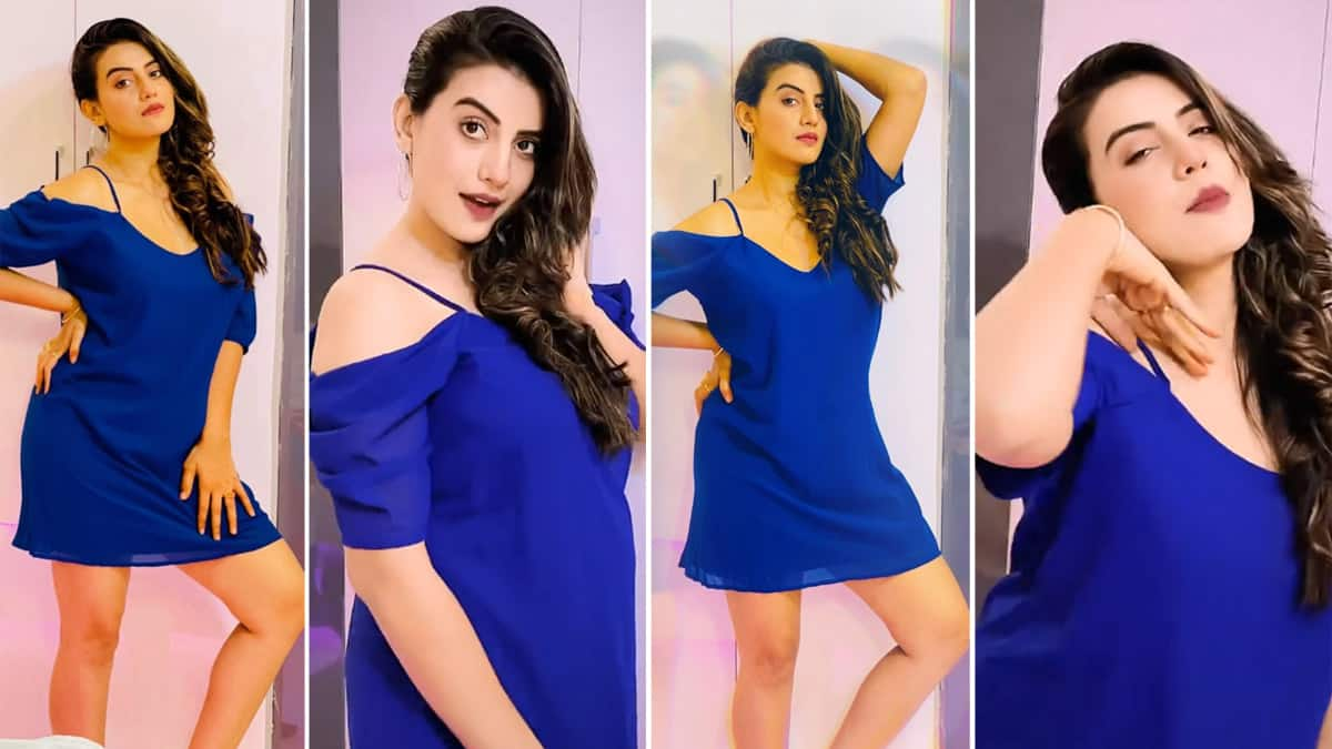 Akshara Singh Looks Hot in Mini Blue Dress