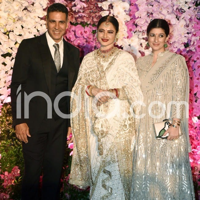 Akshay Kumar and wife Twinkle pose with veteran actor Rekha