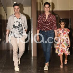 Akshay Kumar Spotted With His Wife Twinkle Khanna And Daughter Nitara Post Movie Date