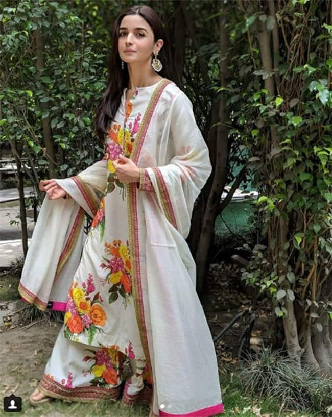 Alia Bhatt in white traditional outfit for Raazi promotions