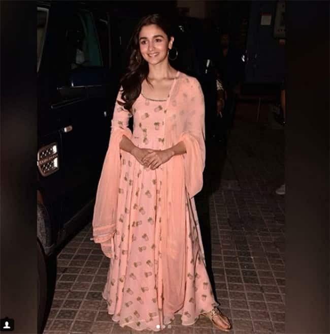 Alia Bhatt snapped during special screening of Raazi in peach traditional outfit