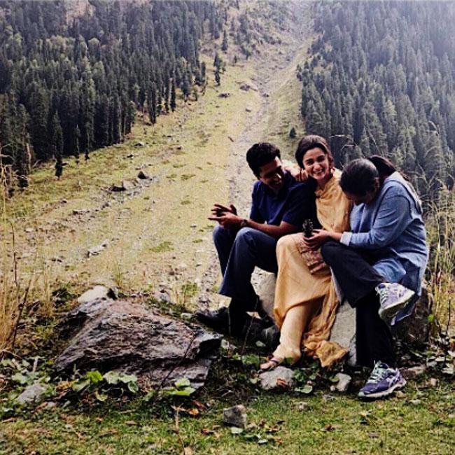 Alia Bhatt with her director in Kashmir