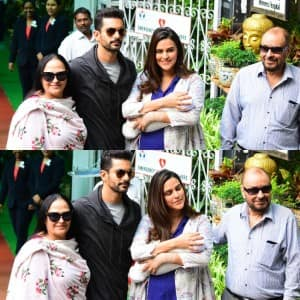 Neha Dhupia, Angad Bedi Get Snapped With Their Baby Girl Mehr Dhupia Bedi as They Head Home; See Pictures