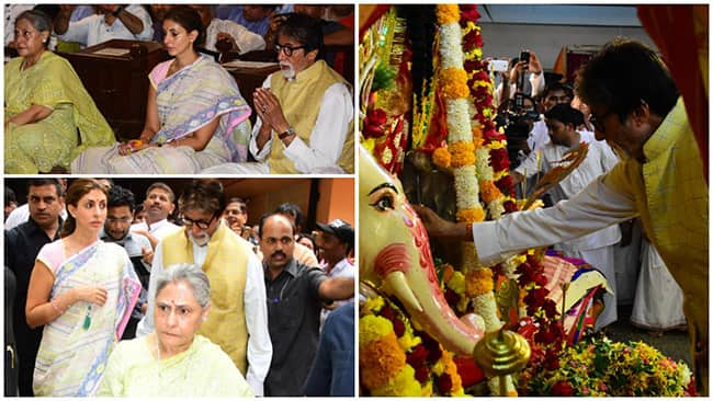 Amitabh Bachchan And Family Spotted Performing Durga Puja in Mumbai