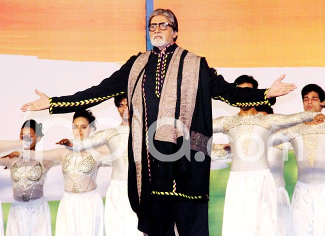 Amitabh Bachchan performs on stage