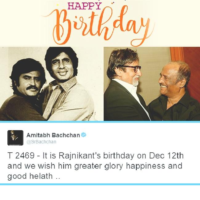 Amitabh Bachchan wishes Rajinikanth on his birthday