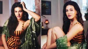 Amyra Dastur Looks Smoking Hot In Her Electrifying Orange Dress With Black Stripes | See Pics