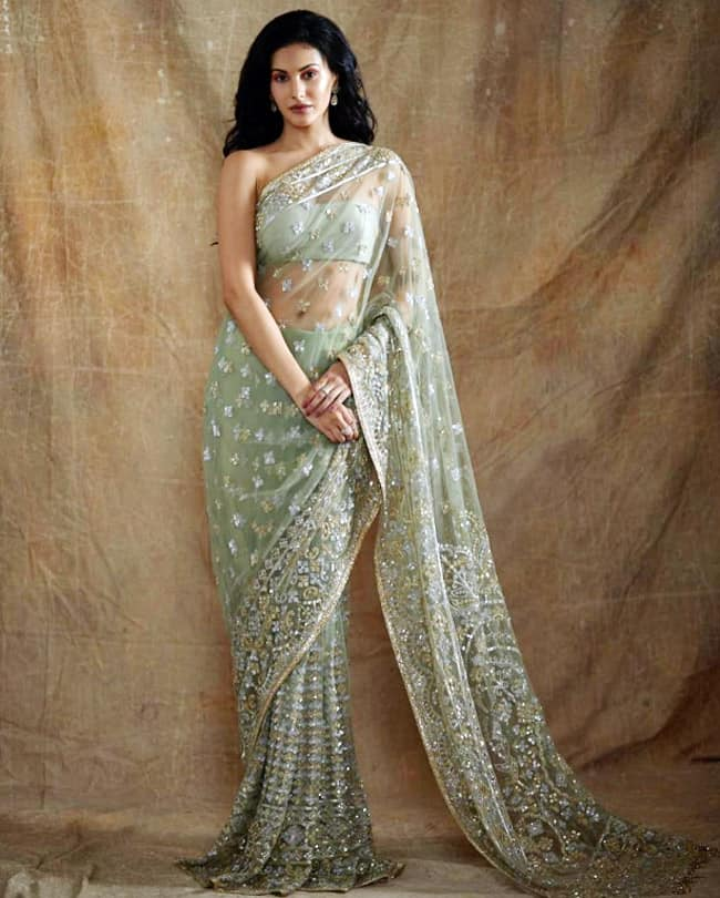 Amyra Dastur opted for a mint green saree by designer Manish Malhotra