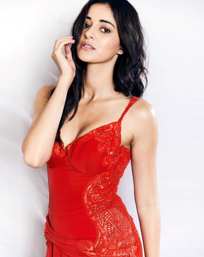 Ananya Panday wears a red dress
