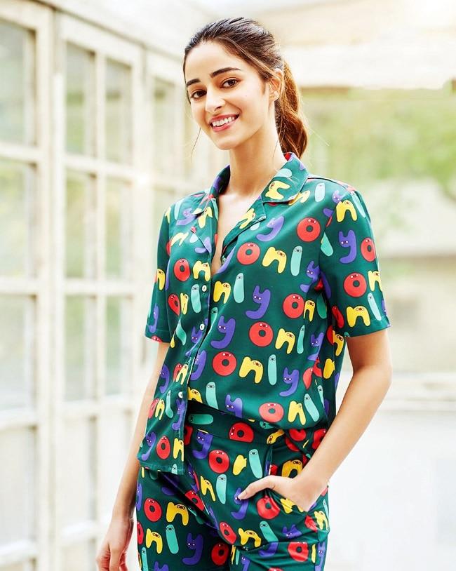Ananya Pandey Looks Comfy in a Green Pyjamas