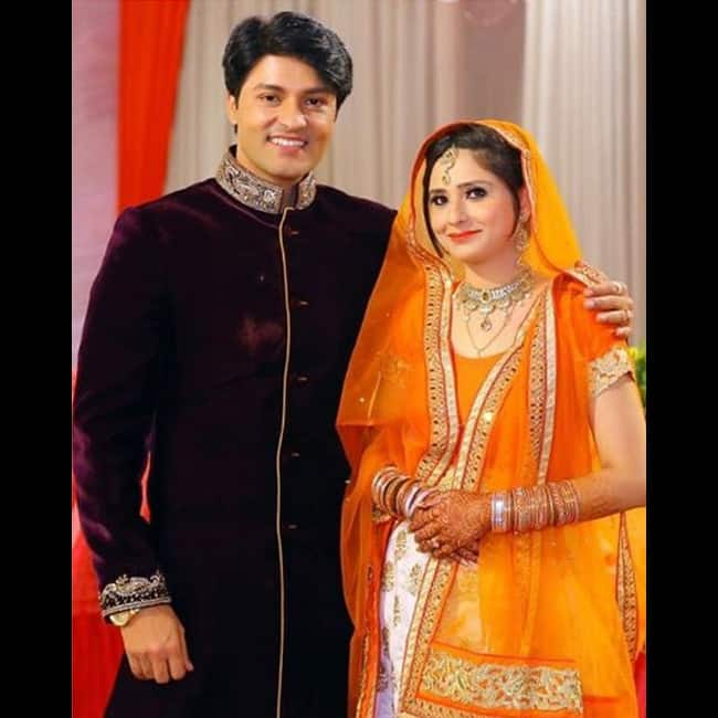 Anas Rashid with fianc  e Hina during his engagement ceremony