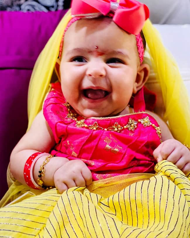Anayra looks adorable as she attends Kanya Puja
