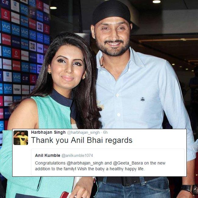 Anil Kumble wishes Geeta Basra and Harbhajan Singh on becoming parents