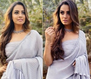 Anita Hassanandani Looks Spectacular in a Stunning Grey Coloured Saree as She Dresses up For The Shoot of 'Naagin 4'