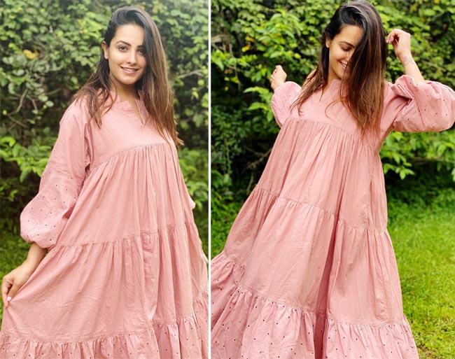 Anita Hassanandani looks sweet and stylish in her latest pink dress