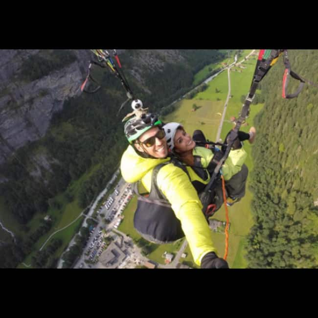 Anita Hassanandani with Rohit Reddy during paragliding