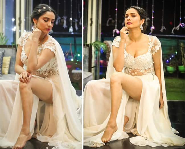 Ankita Lokhande looks breathtaking in a stunning white gown