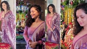 Ganesh Chaturthi 2021: Ankita Lokhande Looks Drop-Dead Gorgeous in a Purple Pink Salwar   See Pics