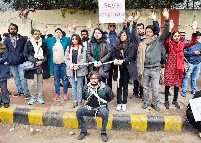 Anti CAA Protesters at Mandi House in New Delhi