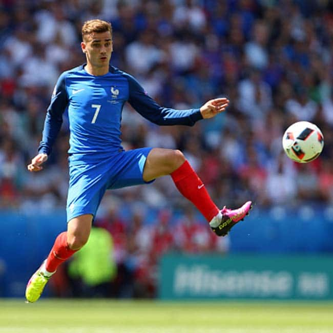 Antoine Griezmann clicked during UEFA Euro 2016