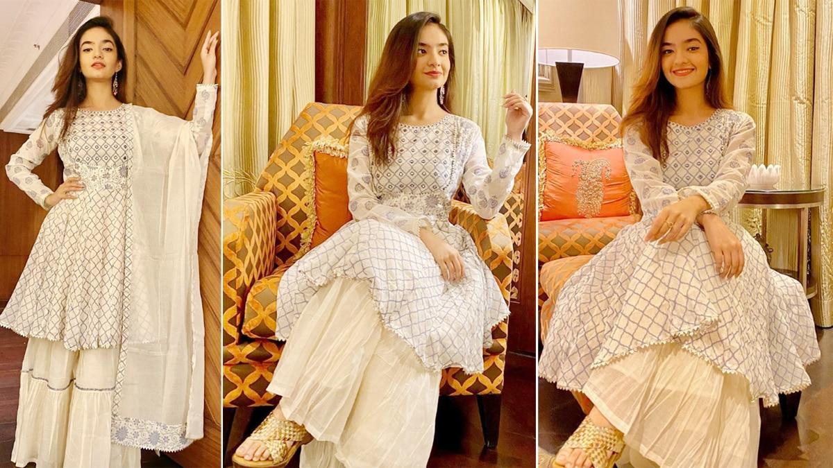 Anushka Sen Looks Graceful in a White Anarkali Suit As She Turns 19