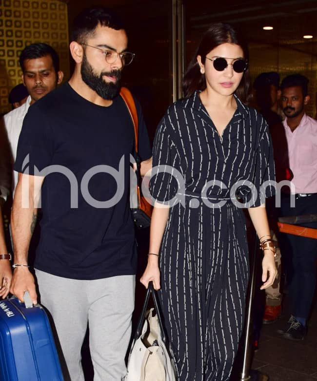 Anushka Sharma Virat Kohli Snapped by Paparazzi at The Mumbai Airport
