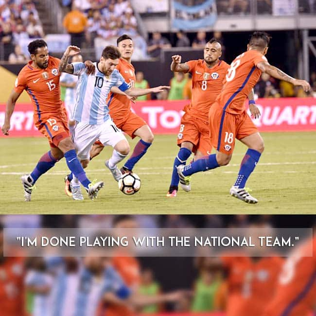 Argentina   s Lionel Messi against Chile players during Copa America 2016 finals