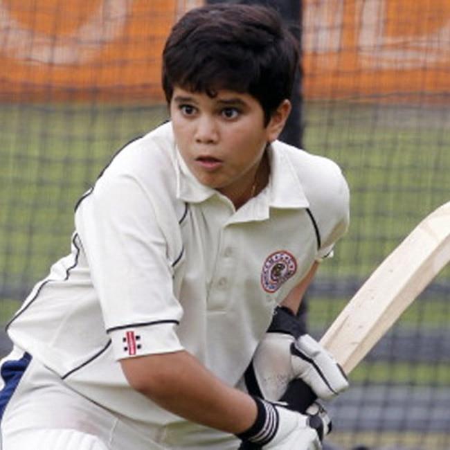 Arjun Tendulkar practicing batting skills on pitch