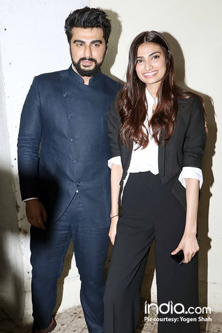 Athiya Shetty with Arjun Kapoor during Mubarakan special screening