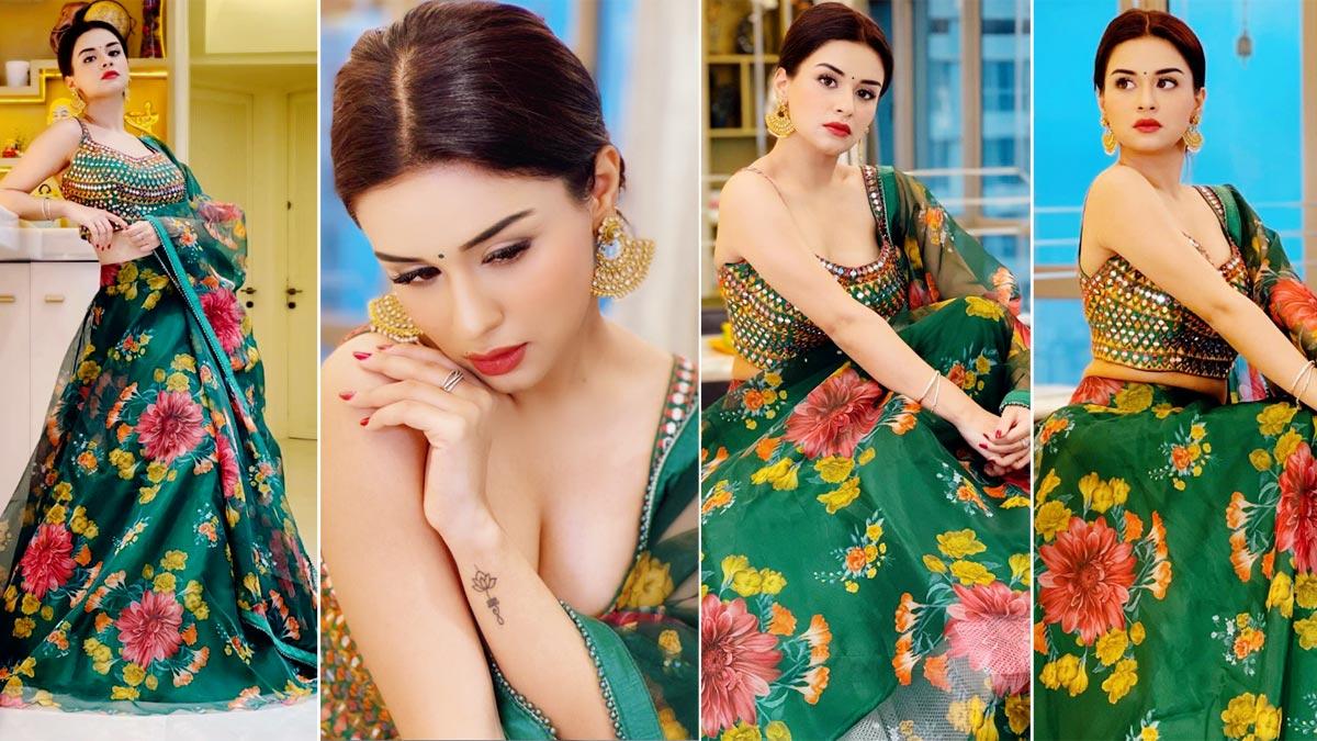 Avneet Kaur Glams Up In Stunning Floral Green Lehenga