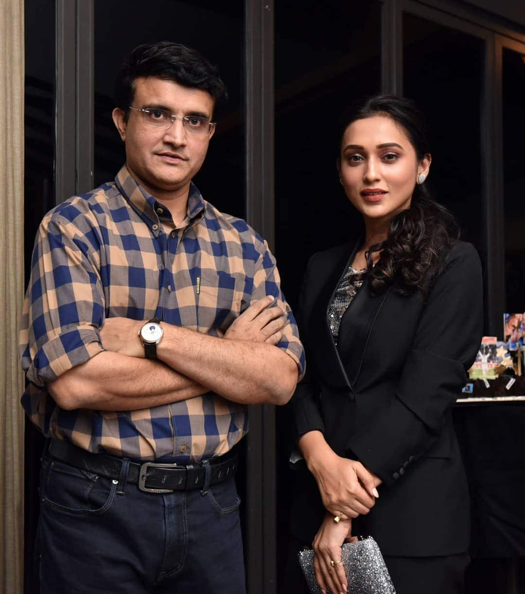BCCI President Sourav Ganguly Poses With MP Mimi Chakraborty