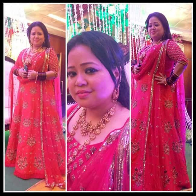 Bharti Singh posing for a picture at her bangle ceremony
