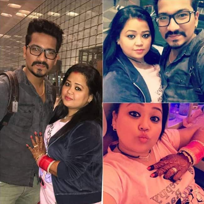Bharti Singh with husband Harsh Limbachiyaa at Mumbai airport